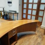 Our old desk and refreshment table